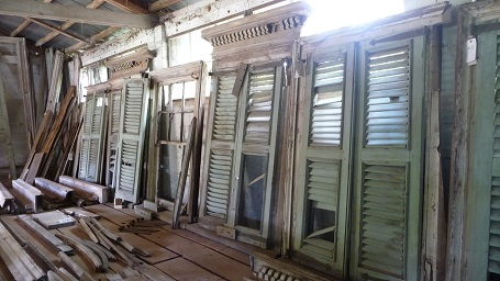The windows and shutters from Tara still remain intact in the barn in Lovejoy